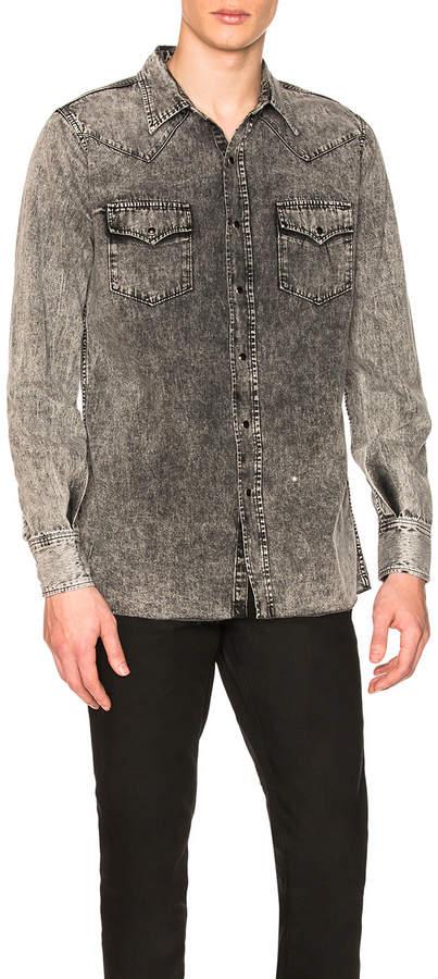Saint Laurent Long Sleeve Denim Western Shirt