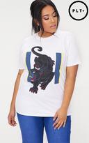 PrettyLittleThing Plus White Self Love Slogan T-Shirt