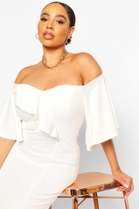 boohoo Plus Bardot Cape Sleeve Midi Dress