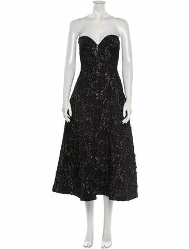 Rochas Strapless Midi Length Dress Black