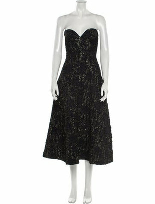Rochas Strapless Midi Length Dress Black