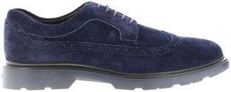 Hogan Brogue Shoes Suede 393 Suede With Brogue Motif And Memory Sole