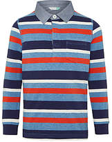 John Lewis Boys' Multi Stripe Rugby Top, Red/Blue