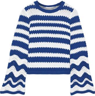 Alice + Olivia Striped Crochet-knit Sweater