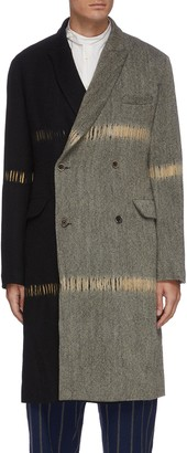 UMA WANG Contrast panel double breast split knit coat