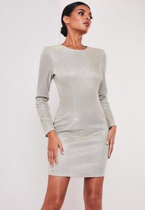 Missguided Sofia Richie X Silver Metallic Bodycon Mini Dress