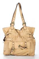 Hype Beige Leather Buckle Shoulder Handbag Size Medium