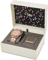 Fossil Women's Riley Rose Gold-Tone Stainless Steel Bracelet Watch & Necklace Box Set 38mm ES4138SET, First at Macy's