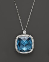 Bloomingdale's London Blue Topaz Cushion and Diamond Necklace in 14K White Gold, 16""