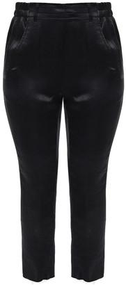 Ann Demeulemeester Cropped Crinkled-satin Slim-leg Pants