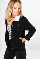 boohoo Nadia Borg Collar Denim Jacket black