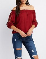 Charlotte Russe Off-The-Shoulder Split Sleeve Top