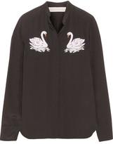 Stella McCartney Arlo Embroidered Silk Crepe De Chine Shirt - Black