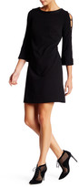 Donna Ricco Long Sleeve Faux Leather Trim Sheath Dress