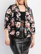 Charlotte Russe Plus Size Floral Ruched Sleeve Blazer