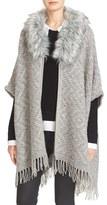 Joie Women's Purnima Faux Fur Trim Poncho Cardigan