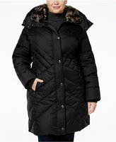 London Fog Plus Size Faux-Fur-Trim Quilted Puffer Coat