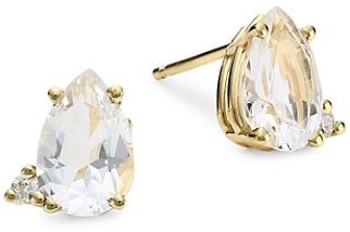 Mizuki Sea Of Beauty 14K Yellow Gold, Pear-Shaped White Topaz & Diamond Stud Earrings
