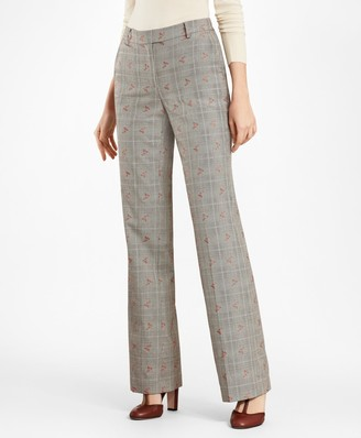 Brooks Brothers Floral Glen Plaid Wool-Cotton Pants