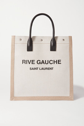 Saint Laurent Noe Leather-trimmed Printed Canvas Tote - White