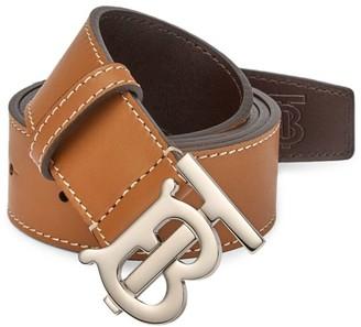 Burberry TB Plaque Saddle Stitch Leather Belt