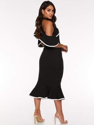 Quiz Scuba Crepe Black And White Piping Cold Shoulder Frill Midi Dress