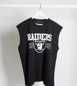 ASOS DESIGN Tall NFL oversized sleeveless t-shirt with Raiders front print