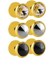 Charisma Stainless Steel Pointy CZ Crystal Stone Screw Stud Earrings Dome Dumbbell Plugs (Gold Color)