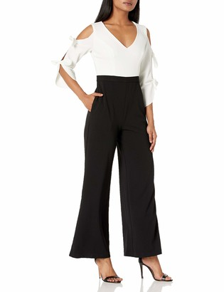 Donna Morgan Women's Long Tie-Sleeve Stretch Crepe V-Neck Jumpsuit