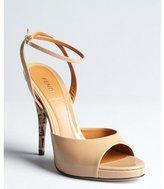 Fendi taupe patent leather peep toe ankle strap pumps