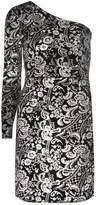 Dorothy Perkins Silver Brocade Print One Shoulder Bodycon Dress