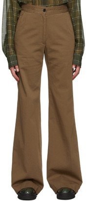 Dries Van Noten Taupe Twill Oversized Trousers