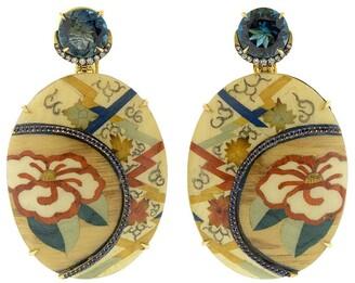Silvia Furmanovich 18kt yellow gold diamond Marquetry Camellia Flower earrings
