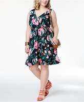 Soprano Trendy Plus Size Printed Faux-Wrap Dress