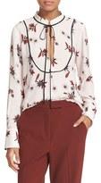 A.L.C. Women's Tie Neck Floral Print Silk Blouse