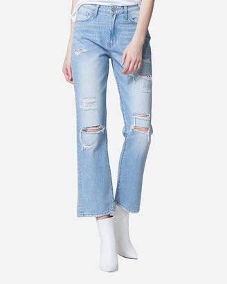 Express Flying Monkey Super High Waisted Distressed Straight Cropped Jeans