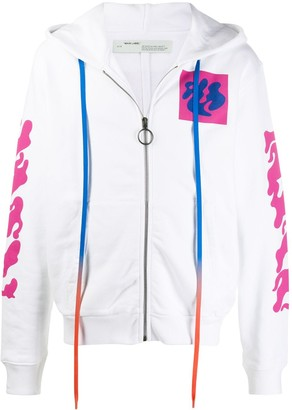 Off-White Zip Front Graphic Print Hoodie