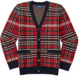 Ralph Lauren Plaid Wool-Cashmere Cardigan