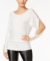 Thalia Sodi Rhinestone Slit-Sleeve Sweater, Only at Macy's