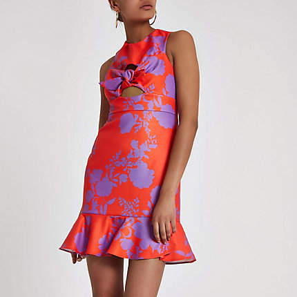 River Island Red floral bow cut out mini dress
