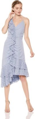 Keepsake Women's All Night Sleeveless V Neck Midi Dress with Lace Ruffle