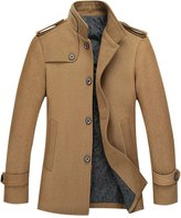 Tanming Men's Stylish Single Breasted Wool Blend Pea Coat Mutiple Colors