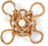 Ralph Lauren Crystal Pearl–Brass Brooch