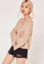 Missguided Petite Exclusive Bell Sleeve Faux Suede Top Pink
