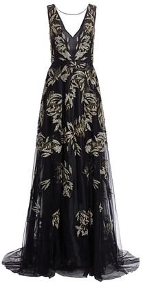 BURNETT NEW YORK Sleeveless Gold Leaf Embellished Front-Slit Gown