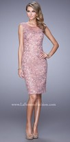 La Femme Modern Lace Overlay Cocktail Dress