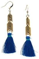 Nobrand No Brand Women's Arrow Bead with Blue Tassel Drop Ear Gold