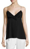 3.1 Phillip Lim Spaghetti Tank with Fringe Trim, Black