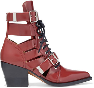 Chloé Rylee Buckled Cutout Glossed-leather Ankle Boots