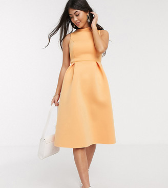 ASOS DESIGN Petite high neck sleeveless midi prom dress with lace up back in washed tangerine